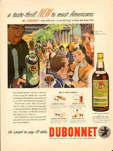 Large 1946 full-page magazine ad for Dubonnet Wine