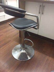 Black Leather Bar Stool with Adjustable Height