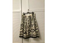 White/ Black 100% Cotton with Silver Sequins Monsoon Style Skirt- Size 16 Brand New