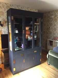 Large Solid Wood Black Display China Cabinet!