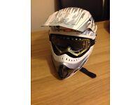 Motocross motorbike helmet white