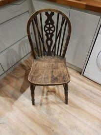 Wood wheel back farmhouse chair