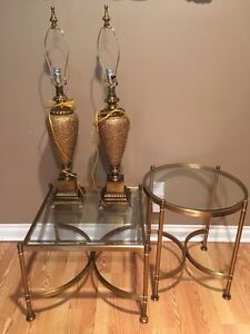 A pair of gold table lamps London Ontario image 6