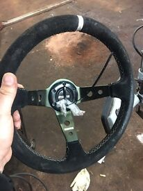 NISSAN 200sx drift steering wheel has been used can fit any car with after market boss kit