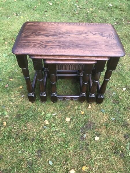 Nest of solid oak old charm tables can deliver in for Coffee tables norwich