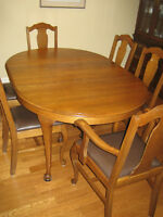 1940's Queen Anne Dining Table and Chairs