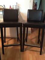 Chaises bar Ikea en cuir