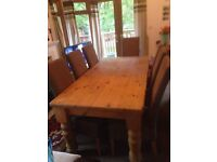 Solid wood table and 8 chairs