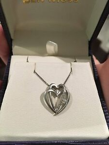Ben Moss Heart Necklace - Silver with Diamonds