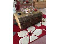 Oak trunk glass coffee table