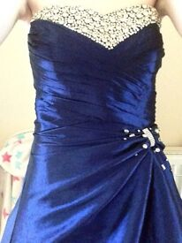 Midnight blue, sparkly ball gown dress with blue shawl
