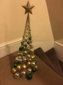 Gold and green and silver bauble tree (NEXT)