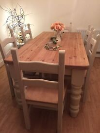 Stunning Rustic Reclaimed Pine Farmhouse Table and 6 Ladder Back Chairs Painted Annie Sloan