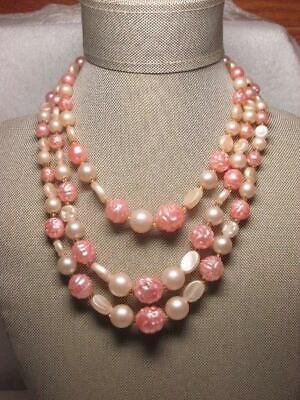 Vintage Hong Kong Triple Strand Pink Cream Molded Plastic Bead Choker Necklace Plastic Bead Choker