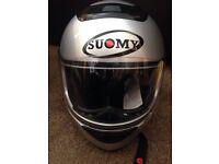 Suomy Motorbike Helmet Dark Metal and Gloves