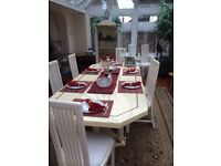 10 seater dining table and chairs with marble veneer