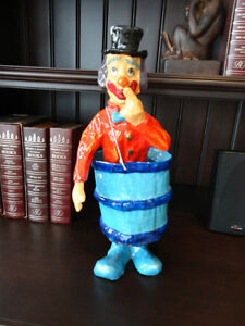 Authentic Mexican Made Paper Mache Clown in a Barrel