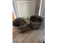 Lovely Wooden Barrel Style Planters