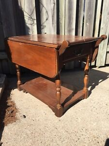 VINTAGE TEAK SIDE TABLE WITH STORAGE