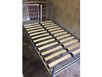 Double bed metal frame grey