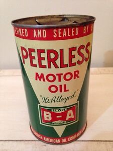 Rare Great cond. BA bow tie peerless motor oil tin can gas sign