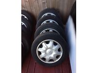 Renault 195-60-15 steels 4 stud tyres and trims