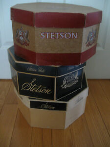 "3  LARGE ROOMY VINTAGE ""STETSON"" HAT BOXES [ALL STAMPED]"