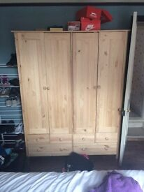 Double Pine Wardrobe 5 months old immaculate