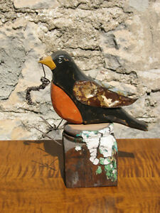 Hand Carved, Hand Painted Wooden Folk Art Robin With Wire Worm