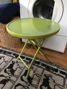 Folding metal and glass top plant stand table