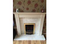 Electric Fire/ Wooden Fire Surround/ Solid Marble Hearth