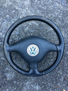 Volant en cuir 3 branches et air bag Volkswagen Jetta Golf mk4