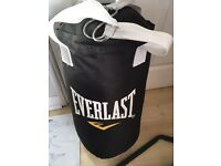 2ft Everlast punchbag and punchbag wall bracket (& junior gloves)