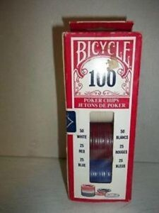 Pocker Chips Bicycle 100 Jetons de poker 50 blancs 25 rouges 25