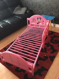 Kids pink Minnie Mouse bed