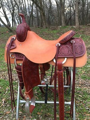 "Used, Western Natural Leather Hand Tooled Roper Ranch Saddle /Leather Strings 18""  for sale  Shipping to Canada"