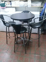 BAR-PUB TABLE AND STOOLS HEAVY DUTY COMMERCIAL GRADE