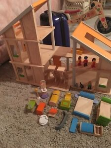 PlanToys Plan Toy Chalet Doll House with Furniture