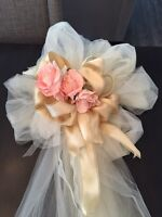 8 Tulle/Ribbon Bows (cream, gold, and blush)