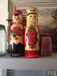 Russian Hand Painted Liquer Bottle Nesting Dolls