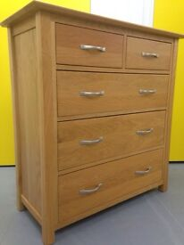 Solid oak Graduated Chest of Drawers / sideboard / furniture/ cabinet - Sutton sm3