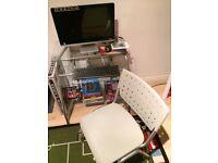 2 tier small desk and grey wheel desk chair