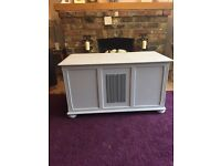 Panelled storage chest painted with clear wax finish