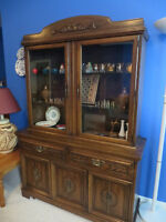 Antique Hutch/buffet/dining table with Five chairs and one Arm C
