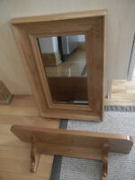 Solid oak mirror and shelf