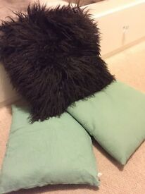 Free 3x Scatter Cushions (1 brown fluffy, 2 pale green)