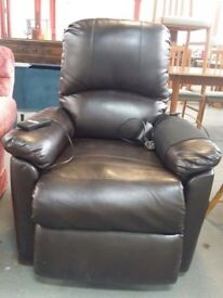 Leather rise and recline chair