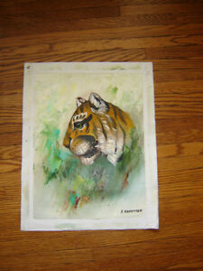 "Tiger - oil on canvas (unframed - 15"" x 19"") London Ontario image 1"