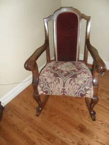 Antique Rocking Chair, 8 way tied springs