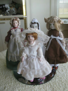 COSTUMED DOLL COLLECTION with STANDS...SET of FIVE